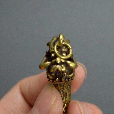 Chinese old collection handwork bronze Zodiac dragon Wolf tooth Pendant a38 5