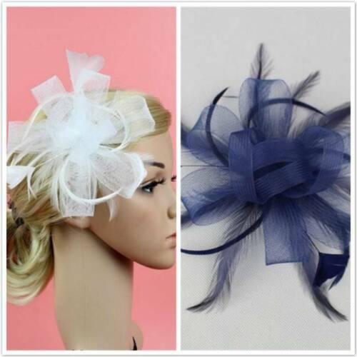 Wedding Prom Races Satin Feather Flower Net Headband Hair Fascinator Side Accent 2