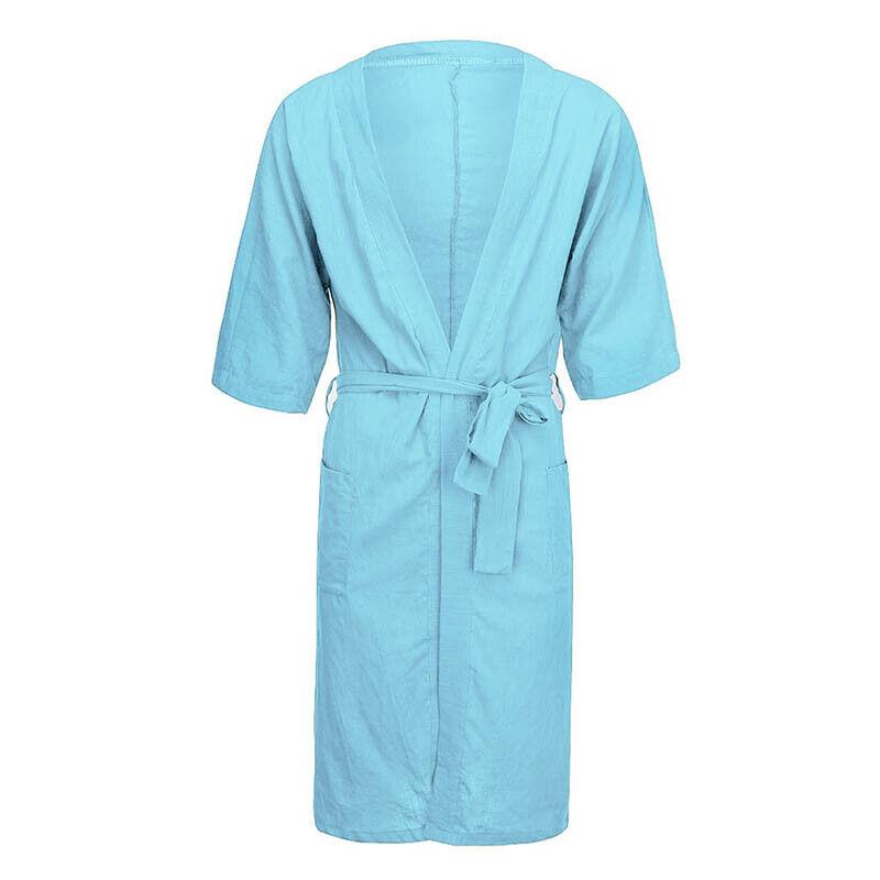 Mens Cotton Linen Pajamas Kimono Bathrobe Robe Dressing Summer Casual Loungewear 9