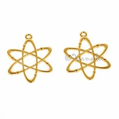 BC1676 4 Science Charms Gunmetal Tone Atom