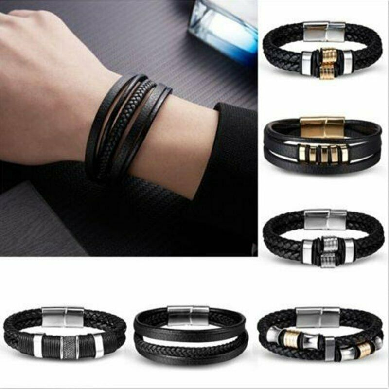 Punk Men's Leather Band Bracelet Watch Buckle Metal Magnetic Wristband Bangle 2