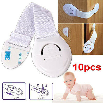 10Pc Baby Kids Child Adhesive Safety Lock For Cabinet Door Drawers Refrigerator~ 3