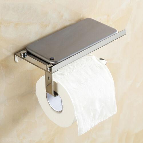 paper holder tissue toilet roll chrome stainless steel shelf polished bathroom aud. Black Bedroom Furniture Sets. Home Design Ideas