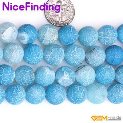 Wholesale Lot Blue Frost Matte Agate Stone Beads For Jewelry Making 6-14mm 15'' 4