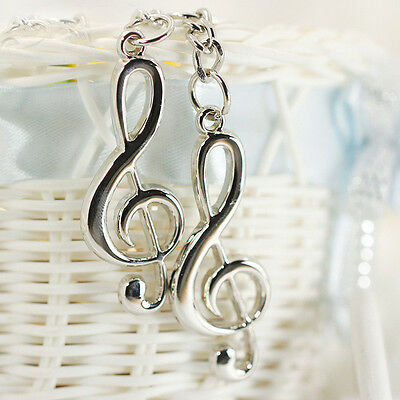 Creative Stainless Steel Silver Music Symbol Keychain Ring Keyring Key Fob Gift 6