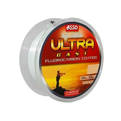 ASSO ULTRA CAST Fluorocarbon Coated Fishing Line - 300M Spool - ORANGE - 330YDS