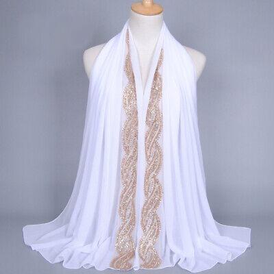 Muslim Women Hijab Rhinestone Long Scarf Islamic Shawls Head Wrap Scarves Shayla 4