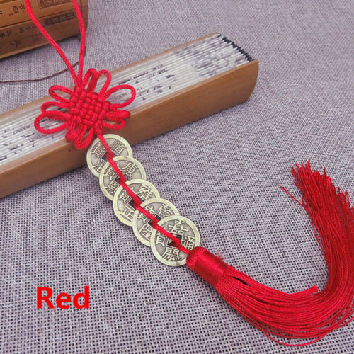 Chinese Feng Shui Protection Lucky Fortune Charm Red Tassel String Tied Coins LH 4