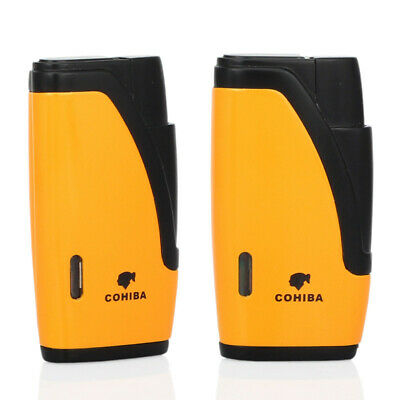 COHIBA Black & Yellow Cigar Cigarette Lighter W/Punch Double Torch Jet Flame 3