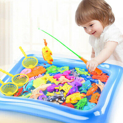 14pcs Set Magnetic Fishing Toys Child Kids 3D Fish Baby Bath Toy interactive Rod 10