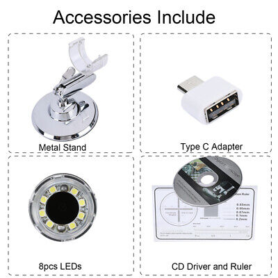 1600X Zoom 3in1 HD 1080P USB Microscope Digital Magnifier Endoscope Video Camera 6
