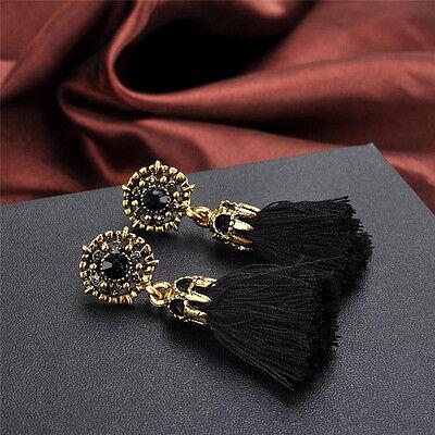 Women Thread Long Tassel Earrings Rhinestone Drop Statement Fringe Earrings 10