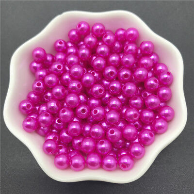 4mm-10mm Acrylic Spacer Beads Round Pearl Spacer Loose Beads For Jewelry Making 7