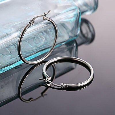 316L Stainless Steel Vintage Silver Big Circle Hoop Earrings Women Punk Ear Clip 6