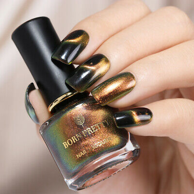 BORN PRETTY Holographic Chameleon Nail Polish Starry Magnetic Varnish Black Base 4