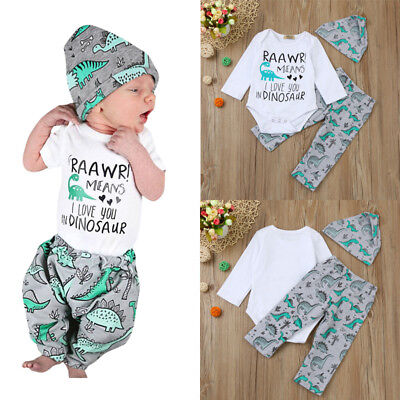 US Newborn Baby Boy Girl Tops Romper Bodysuit Jumpsuit Pants Outfits Clothes Set 10