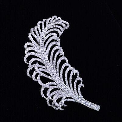 Broche Plqué Or Blanc Art Deco Dentelle CZ Perle Blanc Great Gatsby Mariage G8
