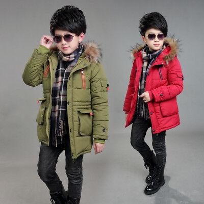 Warm Winter Boys Kids Hooded Warm Quilted Puffer Coat Jacket School Trendy Parka 2
