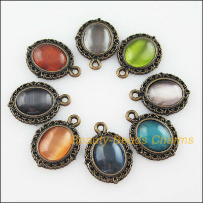 8Pcs Mixed Retro Antiqued Bronze Cat Eye Stone Oval Charms Pendants 13.5x18mm 4