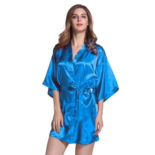 4a0dd6d13a Women s Robe Silk Satin Kimono Robes Wedding Bride Night Dressing Gown  Sleepwear 8 8 of 10 ...