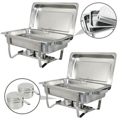 4 Pack Catering Stainless Steel Chafer Chafing Dish Sets 8 Qt Party Pack 8