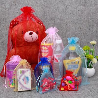 20/50/100X Large Organza Wedding Favour Pouches Gift Bag Net Bags Drawstring AS 8