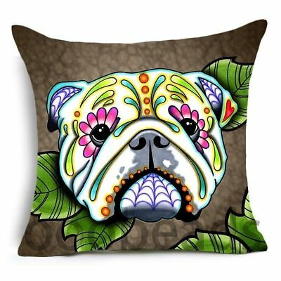 """SUGAR SKULL CUSHION COVER 17/"""" Day of the Dead DOG Grey Pink Blue WHITE PIT BULL"""