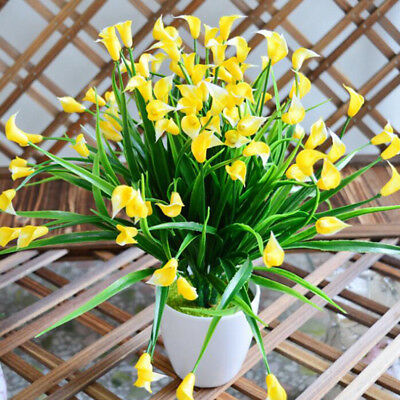 Plastic Outdoor Artificial Flowers Fake False Plants Grass Garden Lily Tulip, 8