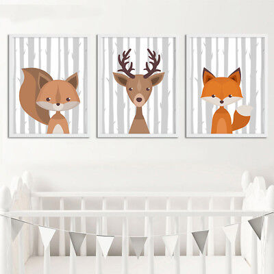 Woodland Animal Baby Fox Deer Canvas Poster Nursery Wall Art Print for Kids Room 3