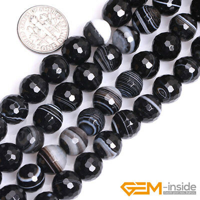 """Natural Faceted Gemstone Black Stripe Agate Round Beads For Jewelry Making 15""""Y 6"""