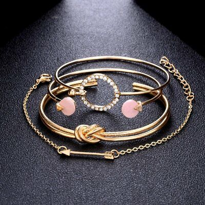 New Fashion Women Boho Gold Silver Bracelets Rhinestone Bangle Cuff Jewelry Set 10