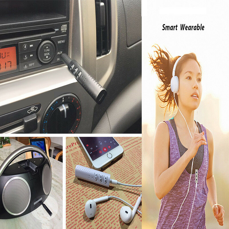 Handsfree Wireless Car Bluetooth Receiver 3.5mm AUX Music Stereo Audio Adapter 12
