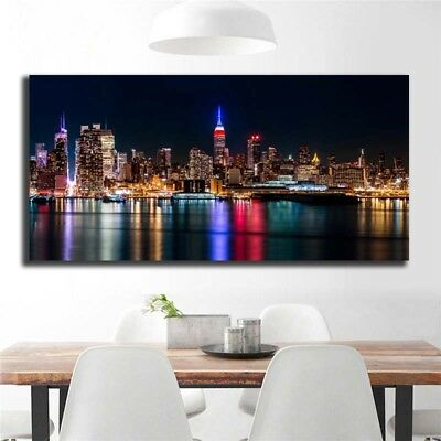 Oil Painting Modern Abstract On Canvas Unframed City Night View Huge Wall Decor