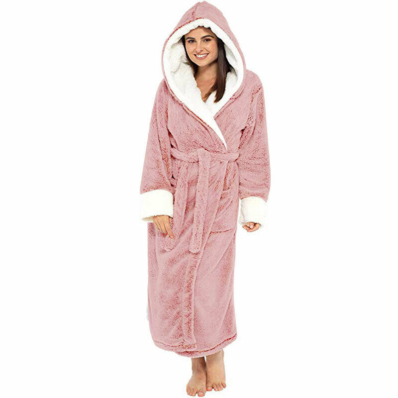 Women Dressing Gown Hoodie Nightwear Fluffy Soft Warm Winter Hooded Bath Robe 4