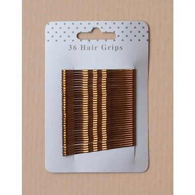 Card of 36 Hair Grips Brown Silver/grey Black Bobby Pins Kirby Grips Slides Clip 3