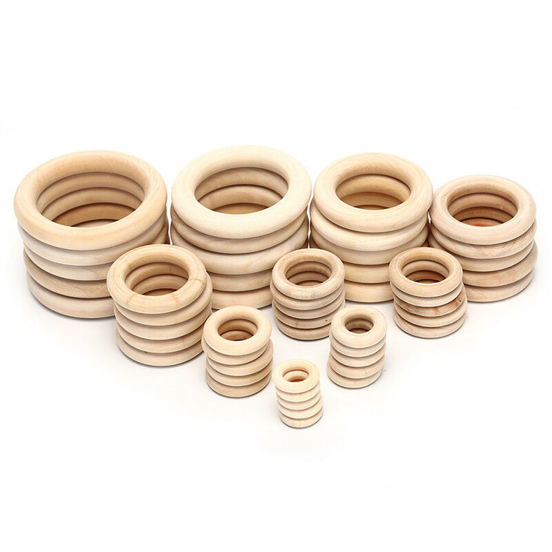 1Bag Natural Wood Circles Beads Wooden Ring DIY Jewelry Making Crafts DIY UK 2