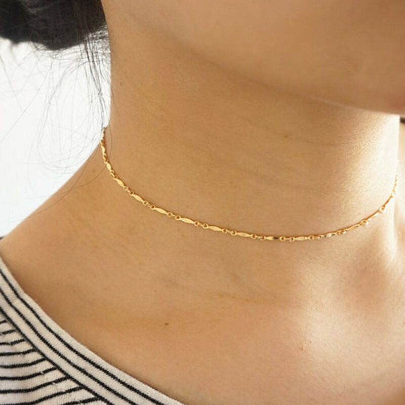 Gothic Punk Women/'s Charm Sequins Choker Necklace Simple Chain Collar Jewelry F