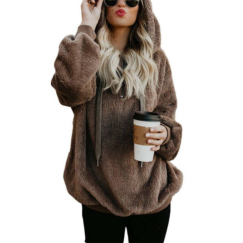 Womens Warm Fleece Hooded Sweatshrit Hoodies Winter Jumper Tops Coat Plus Size 8