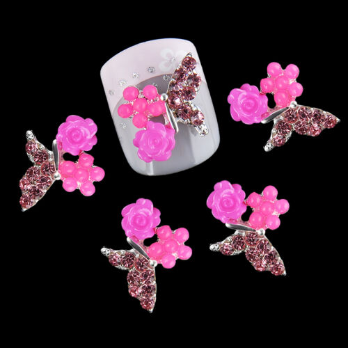 New Chic 10Pcs 3D Nail Art Glitter Decoration Colorful Alloy Rhinestones 10