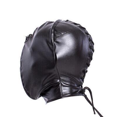 PU Leather Slave Restraint Head Mask Fetish Hood Zipper BDSM Sexy Adult Bondage 8
