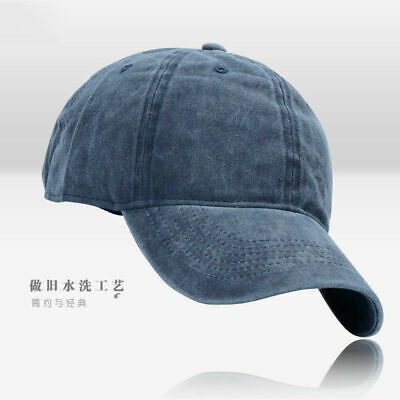 Men Plain Washed Cap Style Cotton Adjustable Baseball Cap Blank Solid Hat Casual 4