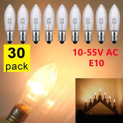 30X LED 0,2W E10 10-55V Topkerzen Riffelkerzen Spitzkerzen Ersatz Lichterkette Z 2