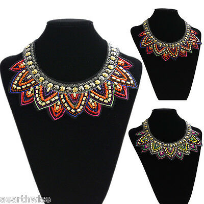 1 x BEADED & FABRIC TRIBAL NECKLACE Wicca Pagan Witch Goth *VINTAGE RETRO COLLAR