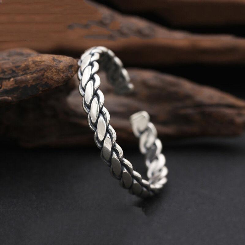 925 Sterling Silver Bangle Men Jewelry Weave Opening Bracelet viking jewelry 2