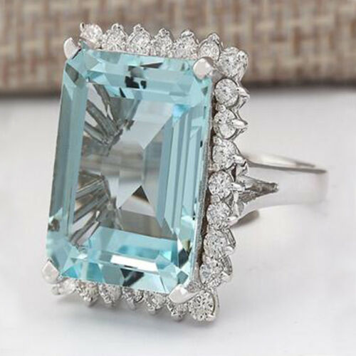 925 Sterling Silver Rings Aquamarine Flower Drop Rings Wedding Jewelry Size#6-10 7