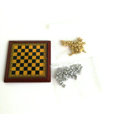 Dollhouse Miniature 1:12 Toy Metal Silver & Golden Chess and Board Set Play Game 7