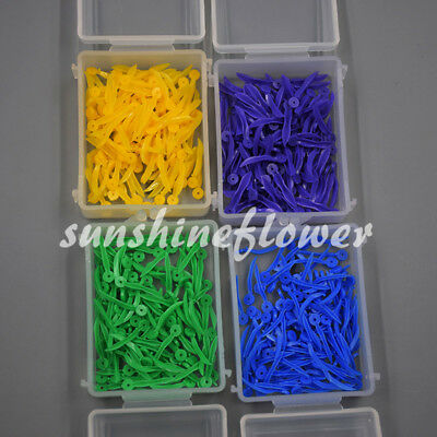 100 Pcs/Pack Dental Disposable Plastic Poly Wedges Round Stern with Holes 4 Size