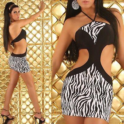 SEXY mini ABITO vestito bianco/nero ZEBRATO tag. unica 38-40-42  fashion GLAMOUR 2 • EUR 42,99