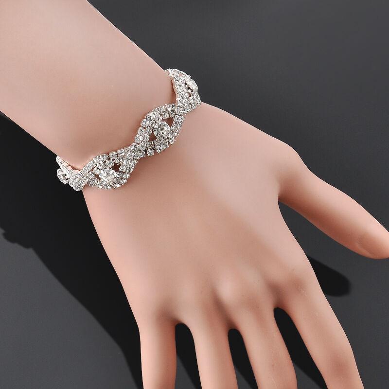 Elegant Deluxe  Women Crystal Rhinestone Infinity Bangle Bracelet Jewelry Gift 4