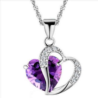 Fashion Women Heart Crystal Rhinestone Silver Chain Pendant Necklace Jewelry Hot 9
